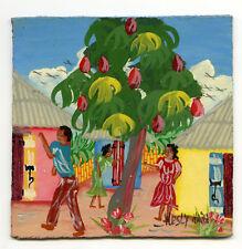 """5"""" Miniature Oil Painting Folk Art Cardboard Panel Haiti Artist Noel Palm Tree"""