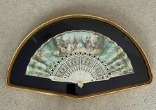 Antique Folding Fan: handpainted with gilding