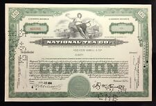 New listing National Tea Company Common Stock Certificate Stamped / Punched / Cancelled