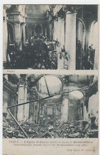 VINTAGE POSTCARD OF BEFORE & AFTER BOMBING OF ST NICHOLAS CHURCH YPRES BELGIUM.