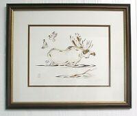 EDDY COBINESS Lithograph Art 4-Color BULL MOOSE Framed Matted Ltd Ed 59/400 N14