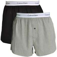 Calvin Klein Modern Cotton Slim Fit Woven Boxer 2-Pack, Black / Heather Grey