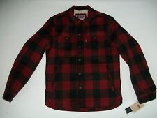 LEVI'S Wool Blend Sherpa Lined RED Buffalo Plaid Shirt JACKET Mens Sz SMALL NEW