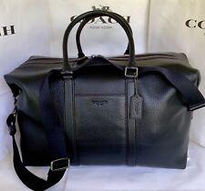 COACH F75715 Trekker Pebble Leather Duffle Bag Overnight Travel Gym QB/Black NWT