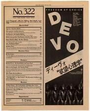 Devo LP/advert 1980