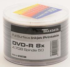 600 x G05 Ritek Traxdata 8X FULL FACE WHITE INKJET Stampabile Vuoto Dischi DVD-R