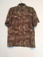 Daniali Men's Button Up Shirt Short Sleeve Brown Size Large
