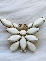 RARE VINTAGE WHITE RHINESTONE GOLD METAL FILIGREE BUTTERFLY BROOCH PIN UNSIGNED