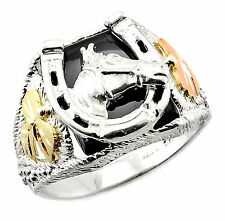 Black Hills Gold on Men`s Sterling Silver Horseshoe Ring with Horse Size 13