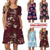 Womens Summer Short Sleeve Beach Floral Pockets Sundress Casual Swing Mini Dress