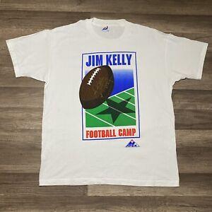 VTG Apex One Buffalo Bills Jim Kelly Football Camp Autograph T-Shirt | Men's 2XL