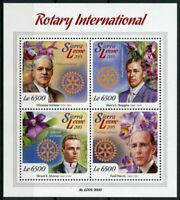 Sierra Leone Rotary International Stamps 2015 MNH Orchids Paul Harris 4v M/S
