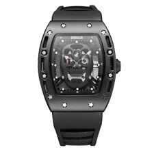Skull Men's Watches Baogela Quartz Movement Black Silicone Strap Waterproof