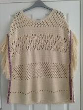 BNWT NEXT Neutral Cream Crochet Sleeveless Jumper Fringed Poncho Small Medium