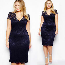 Womens Short Sleeve Lace Bodycon Formal Dress Lady Evening Party Dress Plus Size