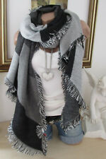 XXL écharpe d'hiver franges Plaid Poncho étole Noir Gris Écharpe Écharpe Blogger