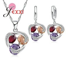 925 Sterling Silver Beautiful CZ Necklace and Earring Set and Velvet Pouch UK