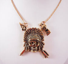 """Han Cholo Indian Chief Gold Necklace 24"""""""