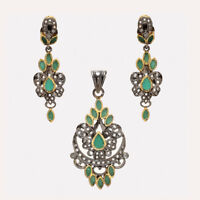 Natural Zambian Emerald Earrings Pendant 925 Sterling Silver Victorian Jewelry