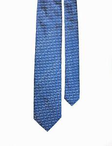 Missoni Orange Label Blue Jacquard Pattern Woven Silk Tie