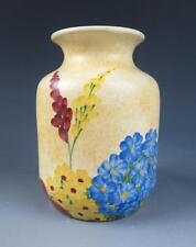 "Antique/Vintage 1930's E. Radford England Art Deco HP Pottery 5.25"" Vase Floral"