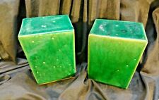 """QING  DYNASTY  CABBAGE  SQ PLATES / OLD CHINA  1800'S """" CELEDON  PILLOW  SQUARES"""