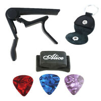 Metal Guitar Capo Change Tune & Picks Holder & Leather Picks Bag Case Keychain