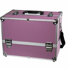 """Makeup Train Case - 14"""" Large Cosmetic Organizer Box """"Adjustable Dividers"""" Pink"""