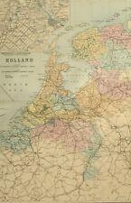 1891 ANTIQUE MAP HOLLAND AMSTERDAM GELDERLAND ZEELAND THE HAGUE FRIESLAND