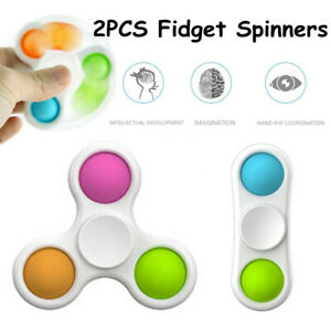 2Pack Decompression FingerTip Fidget Spinner Toy Sensory Hand Toy Squeeze Bubble