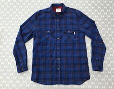 SHORE LEAVE urban outfitters mens shirt Small blue check fine cord 178