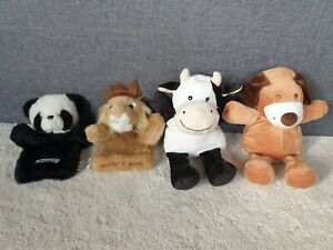 Four Hand Glove Puppets - Panda, Lion, Dog and Cow, excellent condition