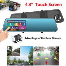 "4.3"" Car DVR Touch Dash Cam Recorder G-Sensor Night Vision Rear Mirror Camera P"