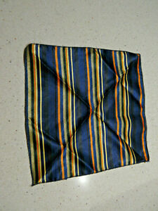 "Blue Orange and Yellow Striped Silk Pocket Square- Small- ""9 x ""9"