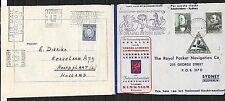 Netherlands covers 1938 1st Flight cover Sydney vice versa cancelled HOOFDPLAAT