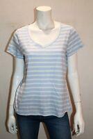 DANNII MINOGUE Brand Blue Striped V Neck T-Shirt Top Size 12 BNWT #TE10