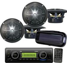 PLMR86B New Marine Boat yacht In Dash USB MP3 AUX Radio & 4  Speakers + Cover