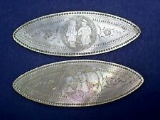 2 ANTIQUE CHINESE MOP MOTHER OF PEARL CARVED FIGURAL OVAL GAMING COUNTERS/CHIPS