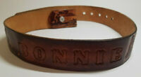 """Hand Tooled Leather 1 1/2"""" Western Theme Belt Size 32"""" BONNIE Brown Women Girls"""