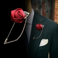 Men Lapel Pin Rose Brooch Suit Chain Breastpin Wedding Party Fashion Boutonniere