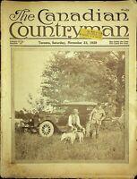 Canadian Countryman Magazine November 23 1929 Hunters With Dog & Car