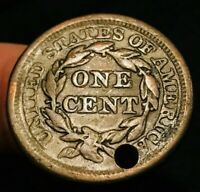 1856 US Large Cent Matron Braided Hair Slanted 5 Rare Type Variety Coin CCC343