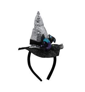 Womens Mini Witch Costume Hat On Headband Cute Moon Ribbon Halloween Accessory