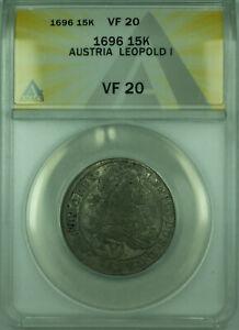 1696 15K Austria ANACS VF-20 15 Kreuzer Silver Coin (Vienna) KM#1170