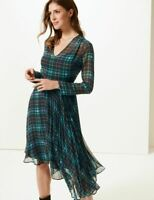 MARKS & SPENCER TARTAN ASYMMETRIC FIT & FLARE MIDI DRESS Sizes 6 to 20