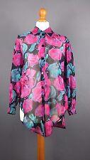 Vintage 80s 90s Jaeger Pink Black Floral Cotton Blouse Shirt Grunge Size 32 8 10