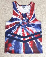 Tie-Dye British / Australia Flag? Tank Blue/Red/White Union Jack Polyester Mesh
