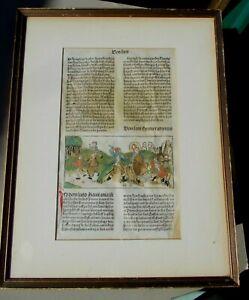 1488 Koberger Nuremberg Woodcut Heiligen Leben Incunabula Leaf