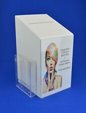 Large Collection / Suggestion Box with A5 Leaflet Holder PDS9464 White LH