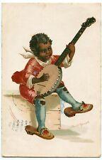 ELLEN CLAPSADDLE. ENFANT NOIR MUSICIEN. BANJO. BLACK CHILD MUSICIAN.